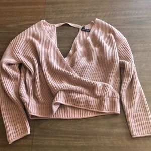 Plunge wrap dusty rose sweater Sz M